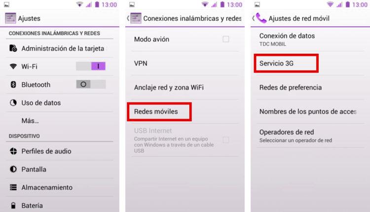 cambiar el tipo de red móvil