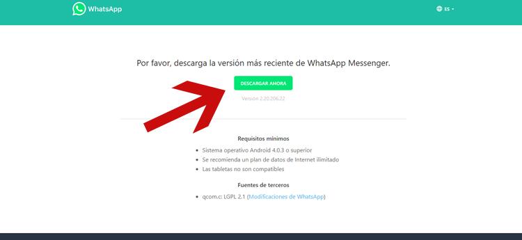 instalar WhatsApp en la tablet con un archivo apk