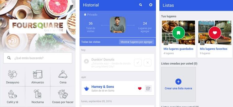 aplicación Foursquare Android