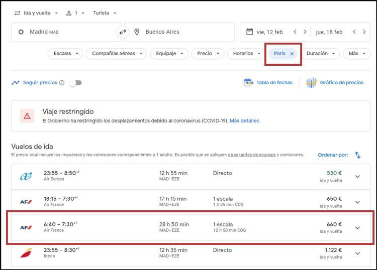 aprovechar las escalas en Google Vuelos