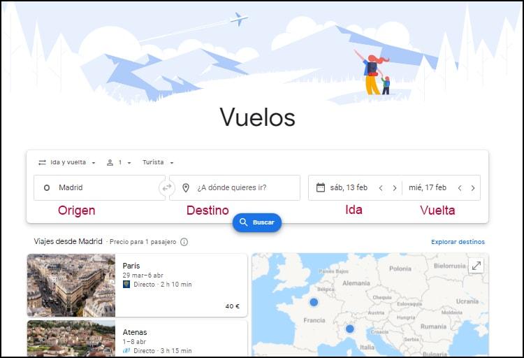 configuración de Google flights