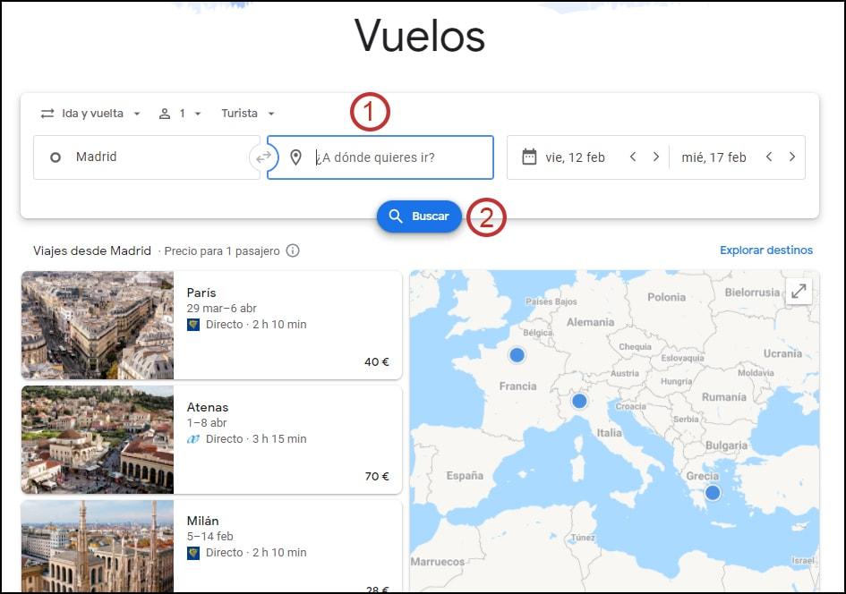 destino abierto en Google flights