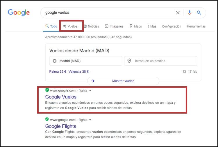 Google vuelos 2