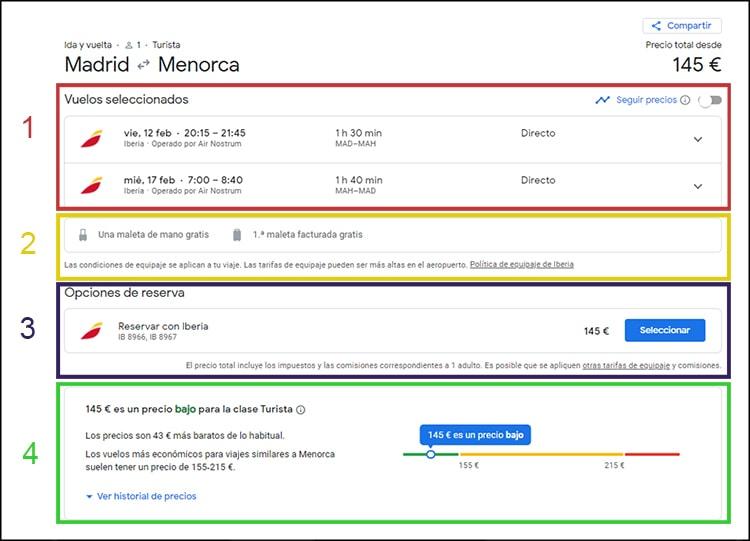 pantalla resumen de Google flights
