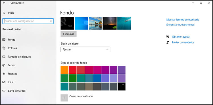 personalización de windows 10