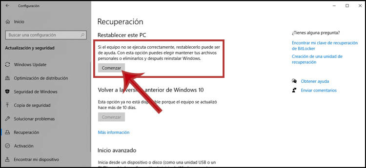 restablecer PC con windows 10