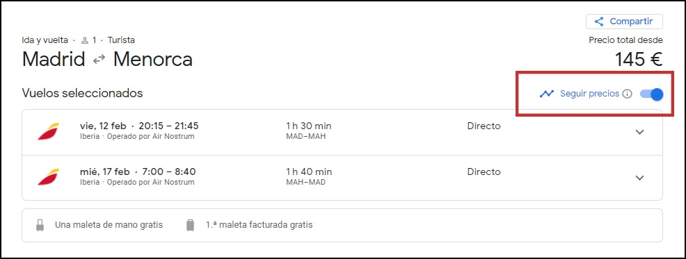 seguimiento de precios en Google flights