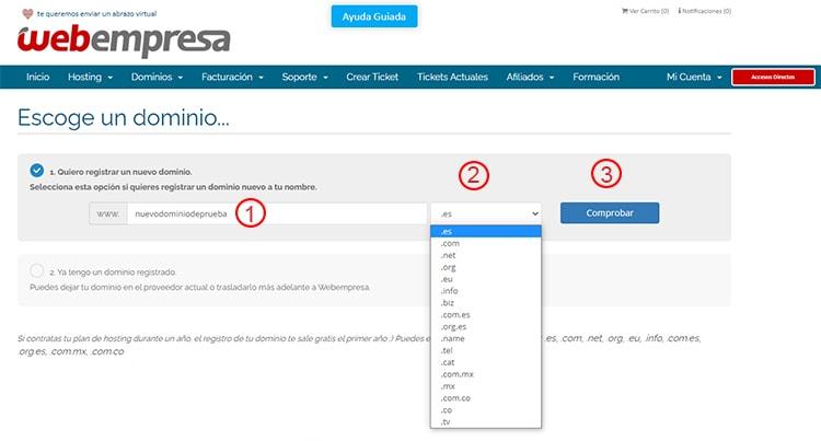 registrar nuevo dominio