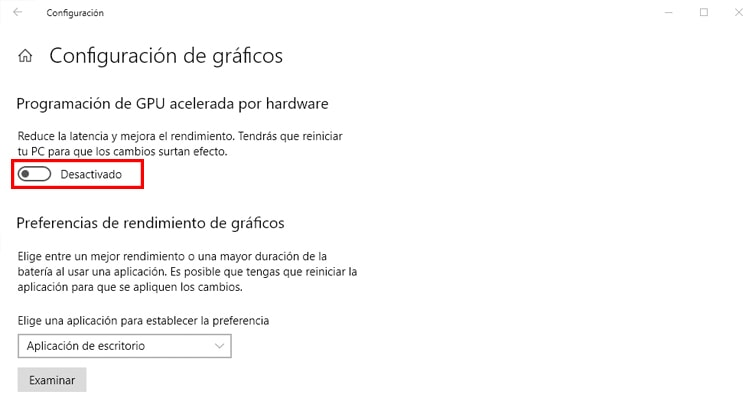 configuración de gráficos windows 10