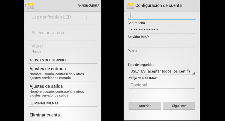 configurar correo movistar en Android