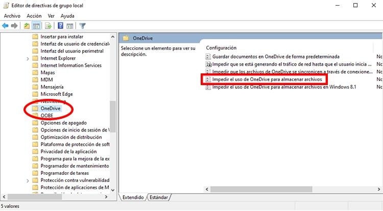 desactivar OneDrive