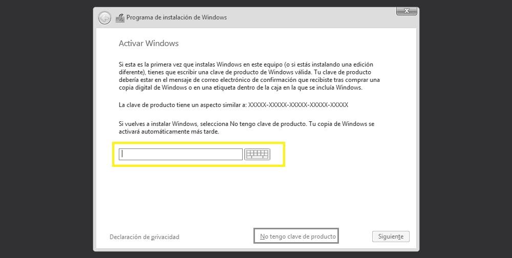 instalación de windows 10 paso3