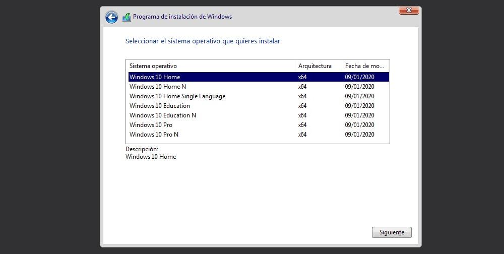 instalación de windows 10 desde usb paso3