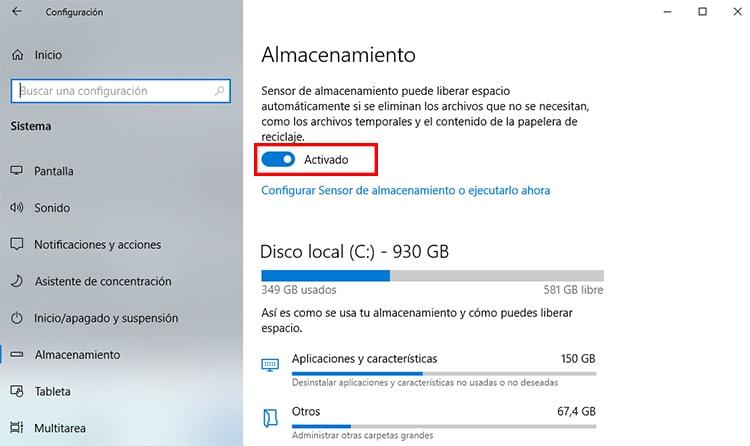 sensor de almacenamiento de Windows 10