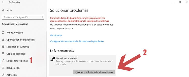 solucionar problemas de red