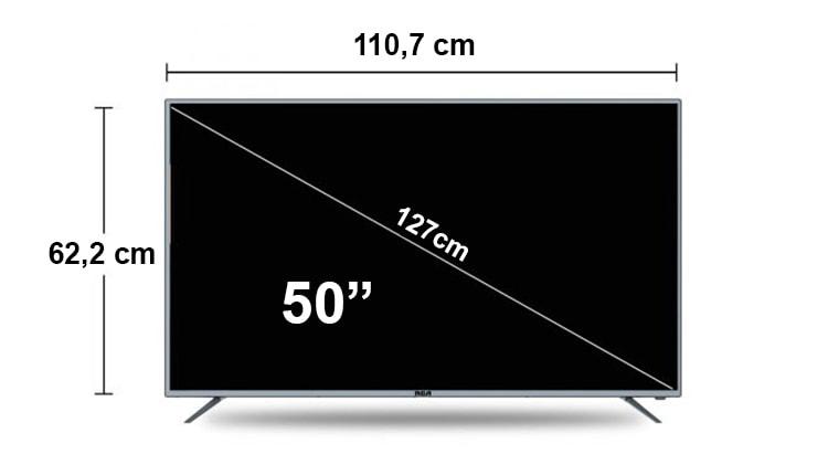 tamaño de una tv de 50 pulgadas