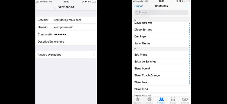 contactos importados en el iphone