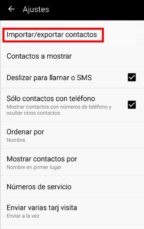 exportar contactos en Android