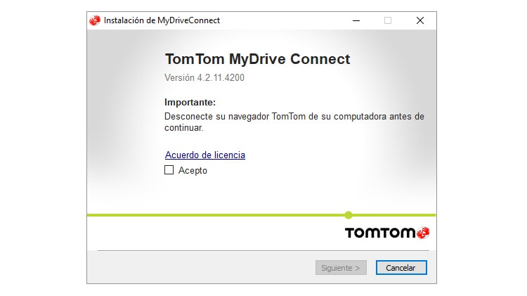 instalar tomtom mydrive connect