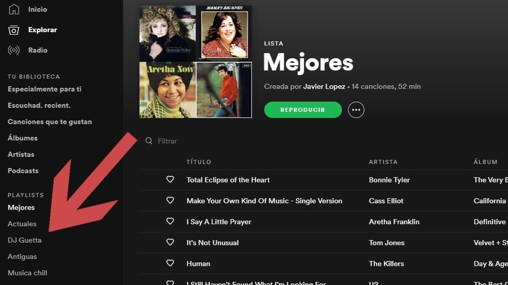 seleccionar playlist de spotify