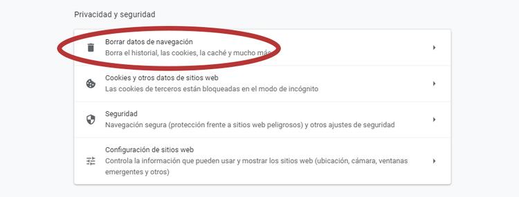 borrar datos del navegador 2
