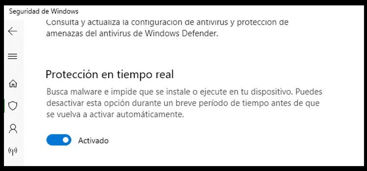 deshabilitar antivirus de windows