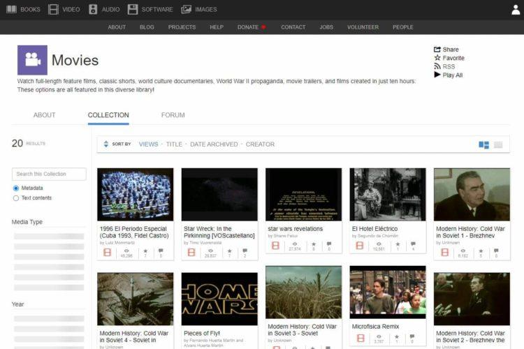 películas gratis en Internet Archive films