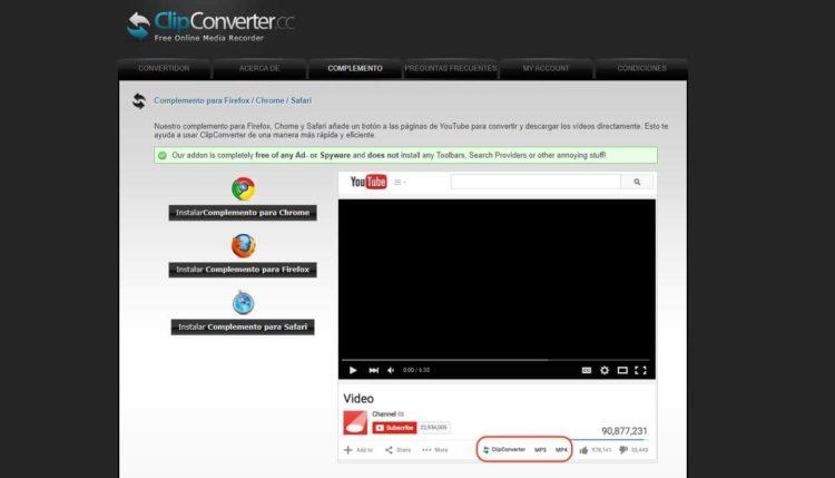 ClipConverter descargar audios
