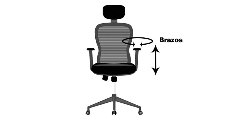 brazos ajustables de silla