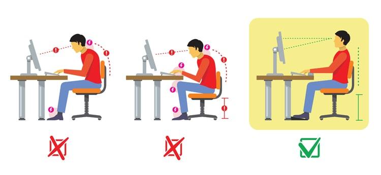 posturas en una silla ergonómica