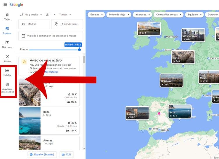 alojamiento en Google Flights