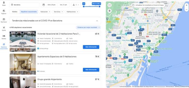 alquiler vacacional en Google Flights