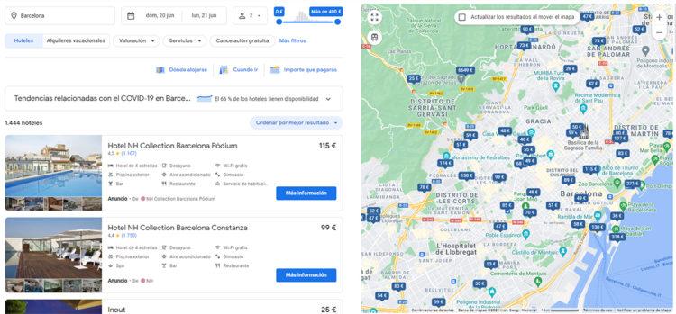 listado hoteles Google Flights