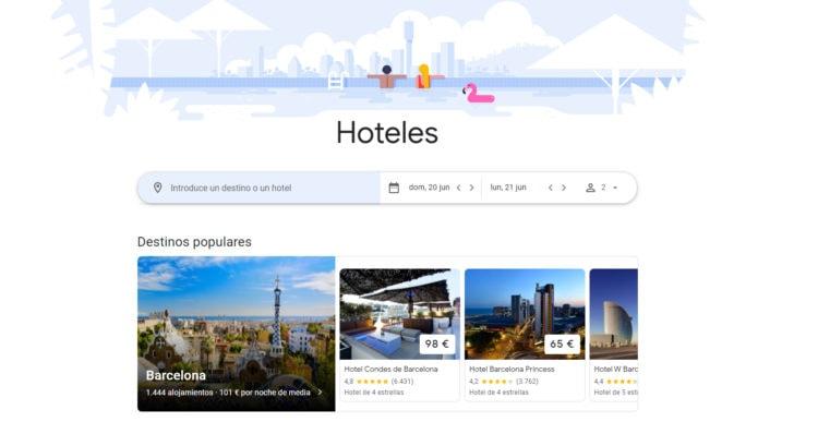 reservar hotel en Google Flights