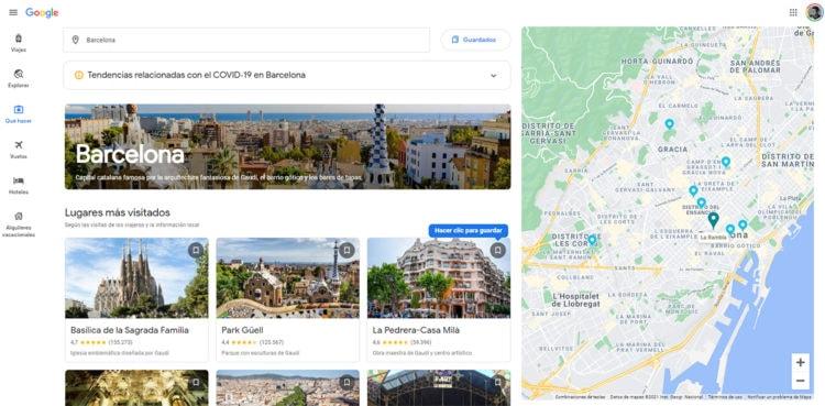 sección que hacer de Google Flights